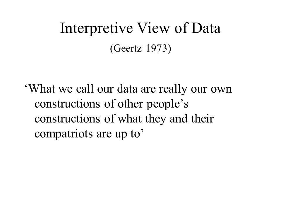 Interpretive View of Data (Geertz 1973)