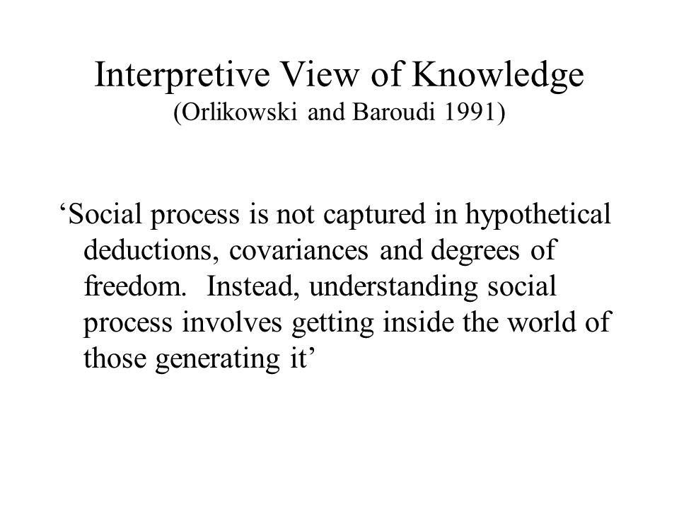 Interpretive View of Knowledge (Orlikowski and Baroudi 1991)