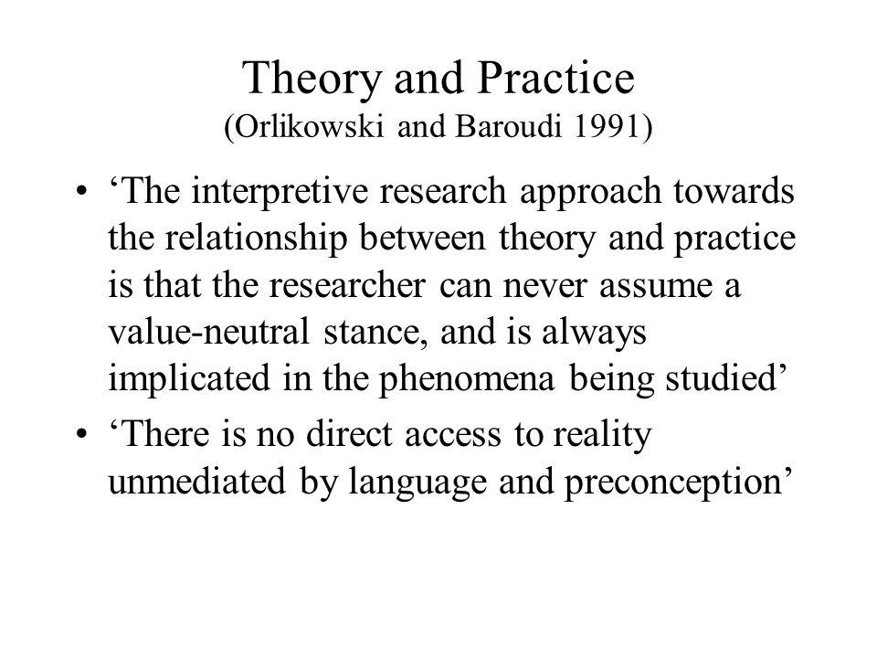 Theory and Practice (Orlikowski and Baroudi 1991)