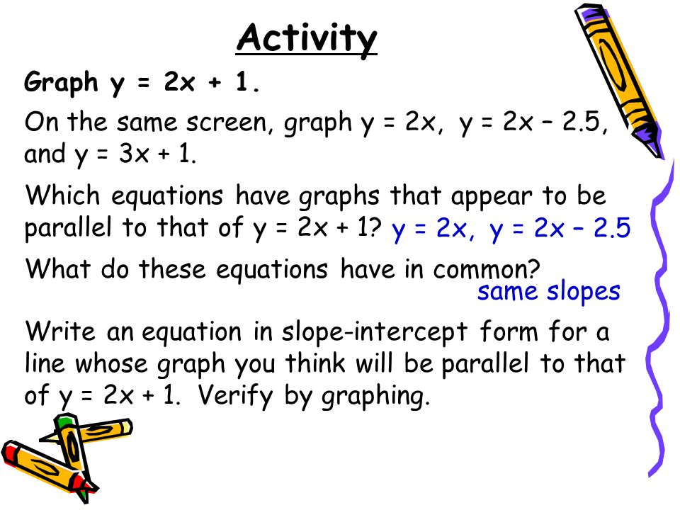 Activity Graph y = 2x + 1. On the same screen, graph y = 2x, y = 2x – 2.5, and y = 3x + 1.