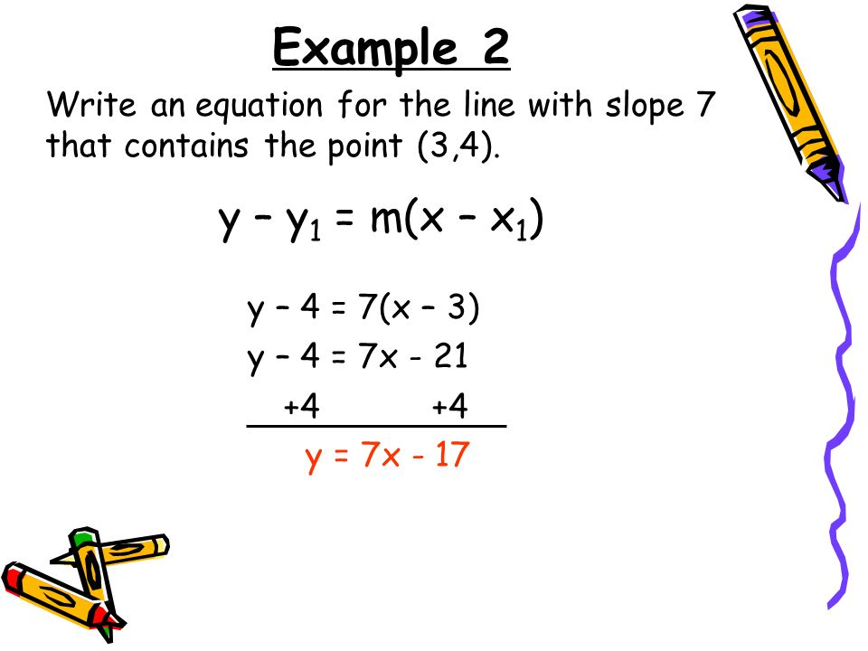 Example 2 Write an equation for the line with slope 7 that contains the point (3,4). y – y1 = m(x – x1)