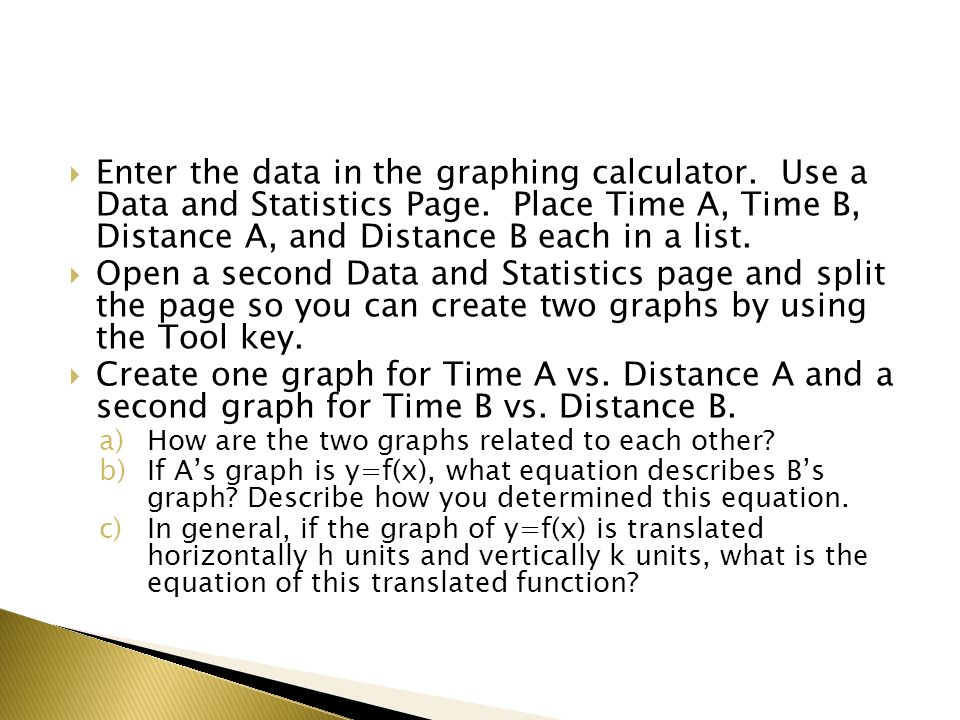 Enter the data in the graphing calculator