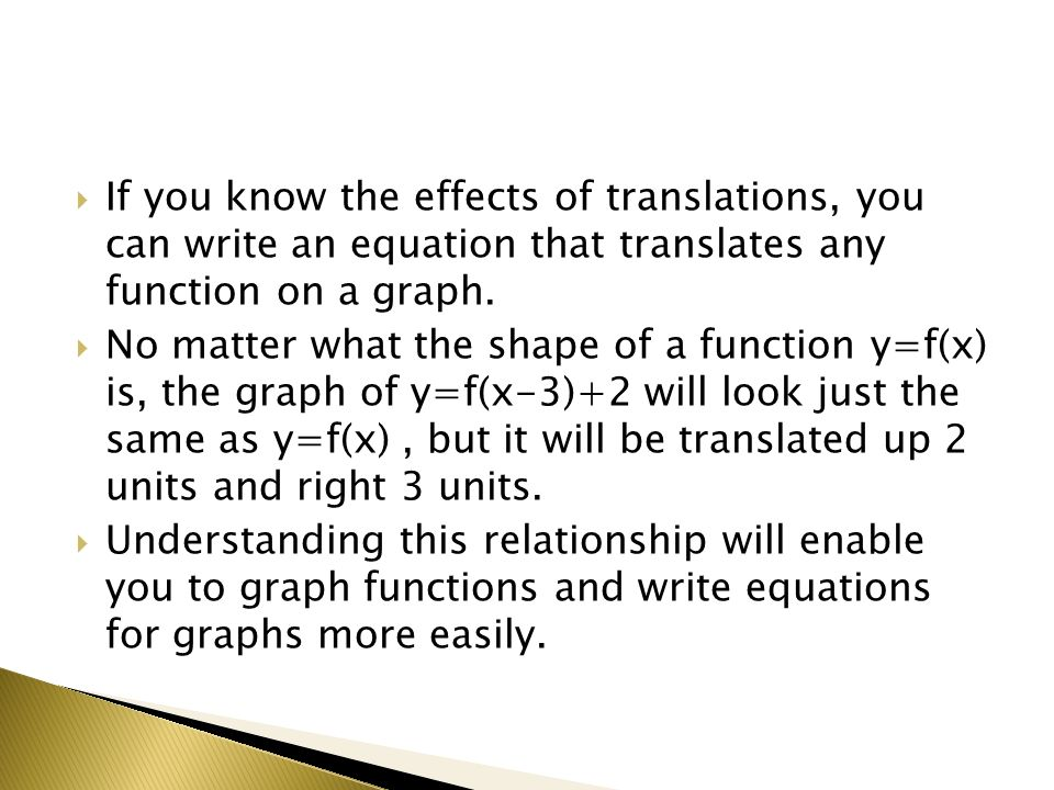 If you know the effects of translations, you can write an equation that translates any function on a graph.