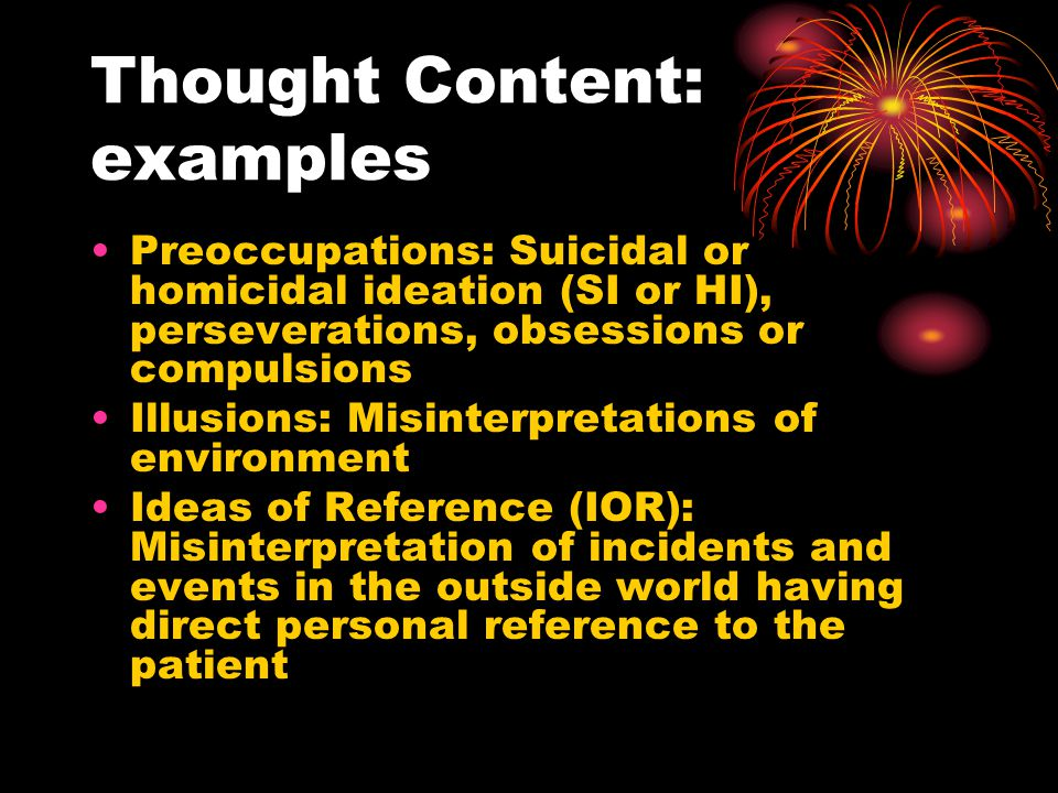 Thought Content: examples