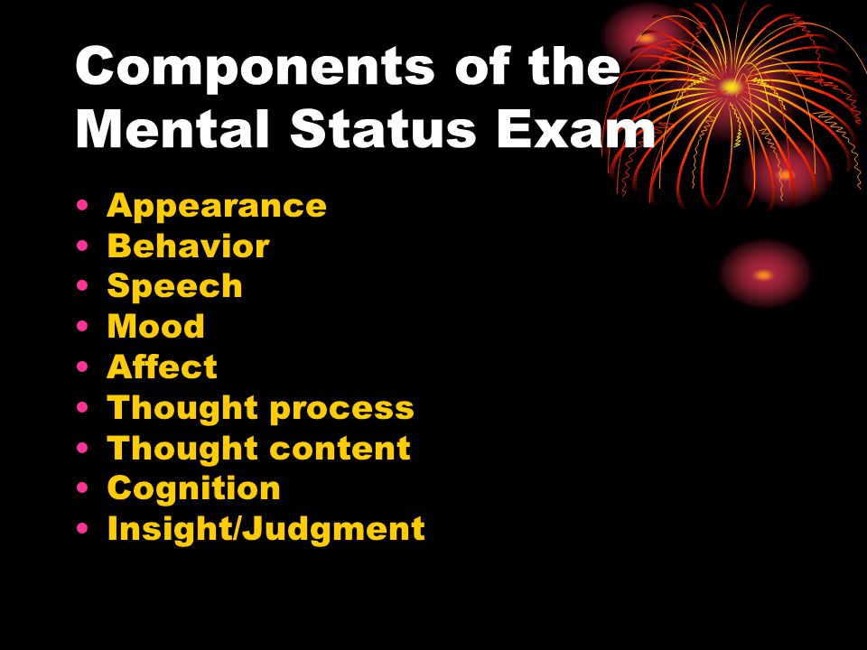 Components mental status examination