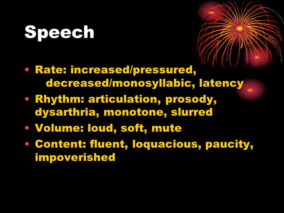 Speech Rate: increased/pressured, decreased/monosyllabic, latency