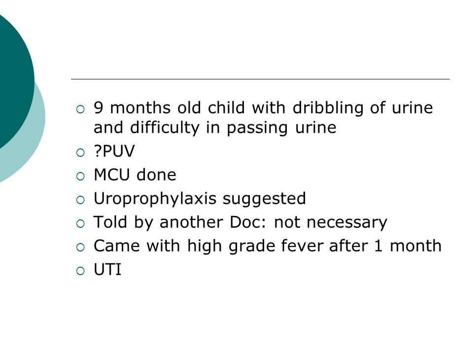 9 months old child with dribbling of urine and difficulty in passing urine