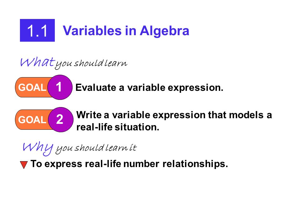 1.1 What you should learn Why you should learn it Variables in Algebra