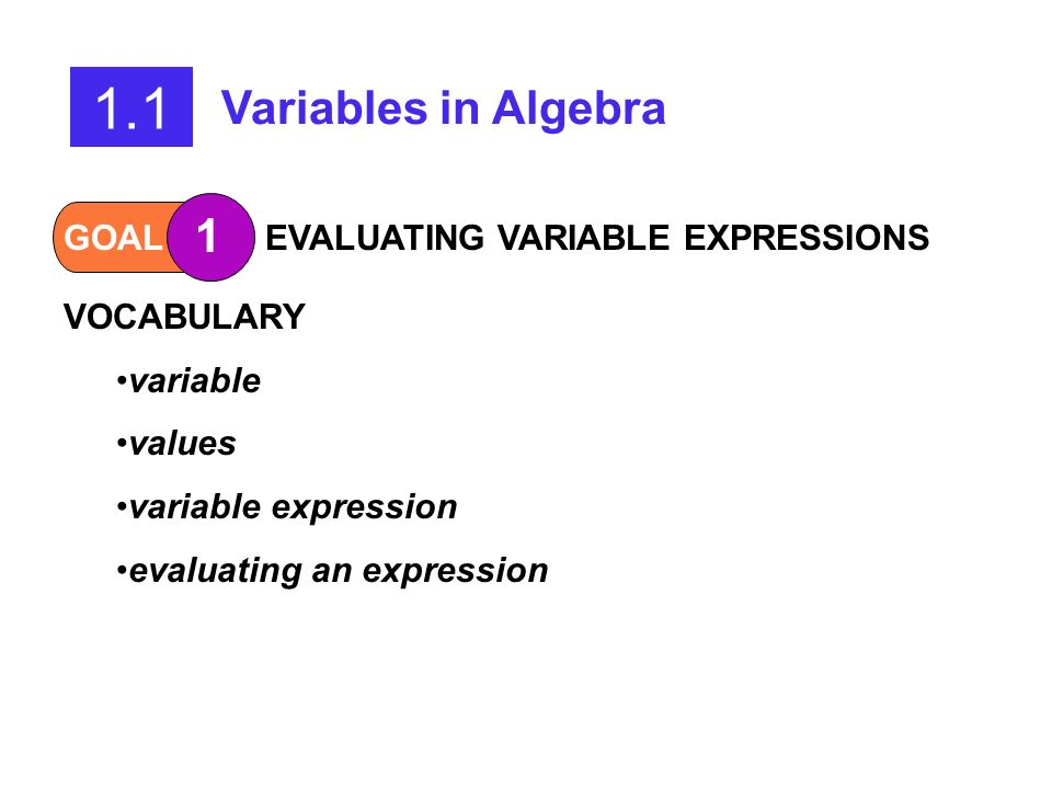 1.1 Variables in Algebra 1 GOAL EVALUATING VARIABLE EXPRESSIONS