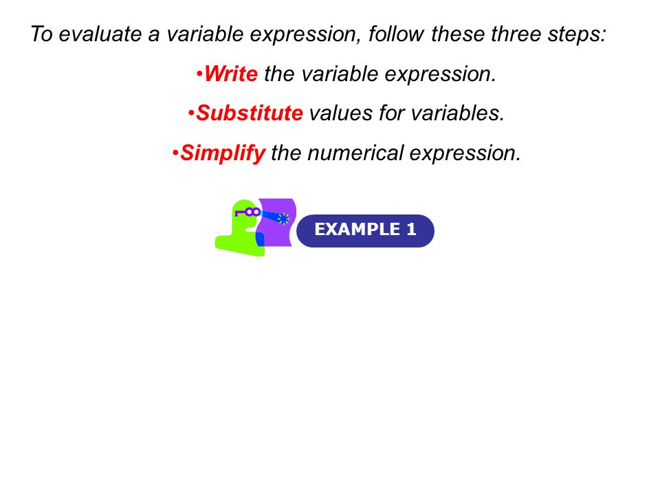 To evaluate a variable expression, follow these three steps:
