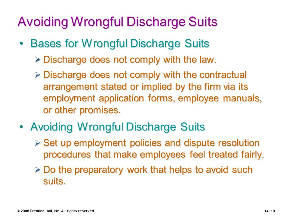 Avoiding Wrongful Discharge Suits