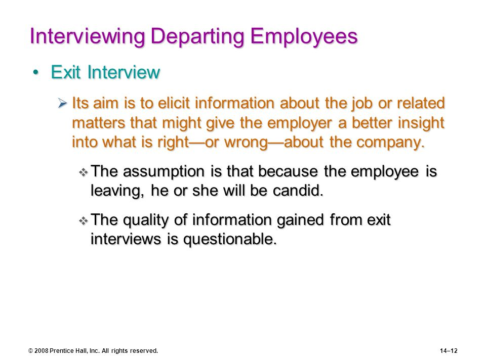 Interviewing Departing Employees