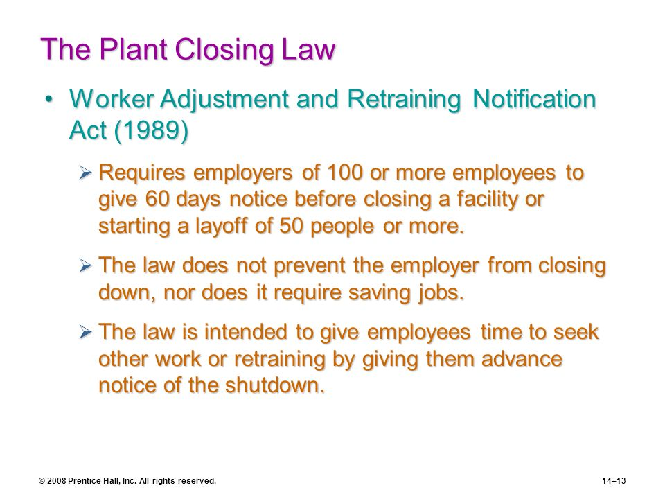 The Plant Closing Law Worker Adjustment and Retraining Notification Act (1989)