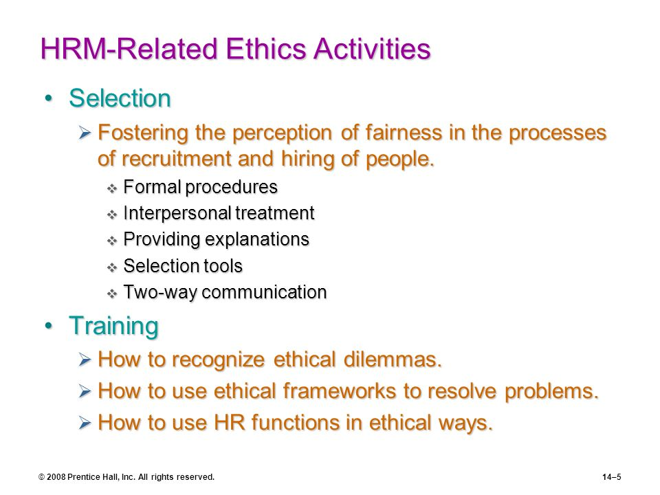 HRM-Related Ethics Activities