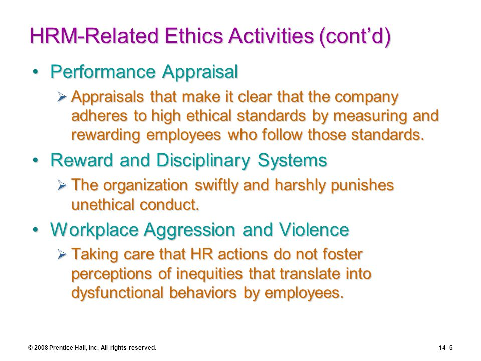 HRM-Related Ethics Activities (cont'd)