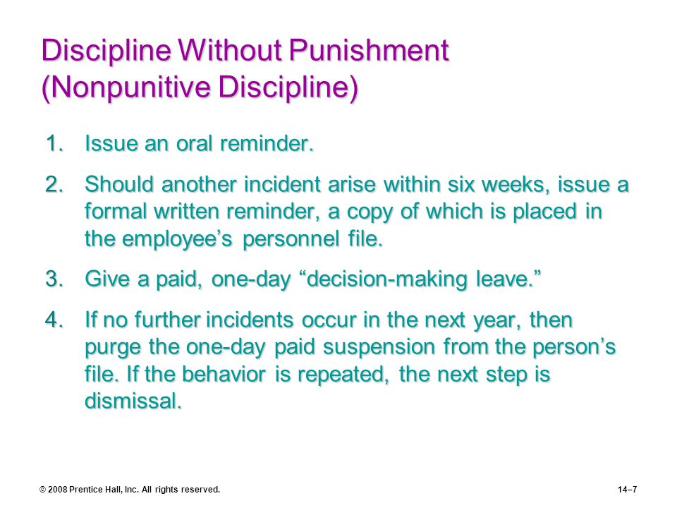 Discipline Without Punishment (Nonpunitive Discipline)