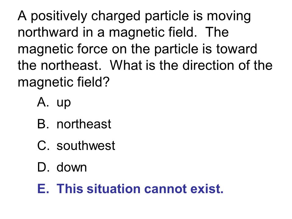 A positively charged particle is moving northward in a magnetic field