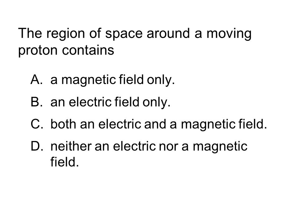 The region of space around a moving proton contains