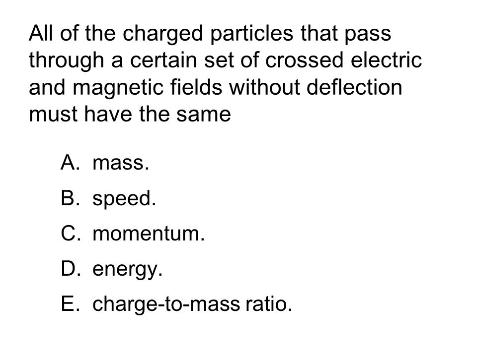 All of the charged particles that pass through a certain set of crossed electric and magnetic fields without deflection must have the same