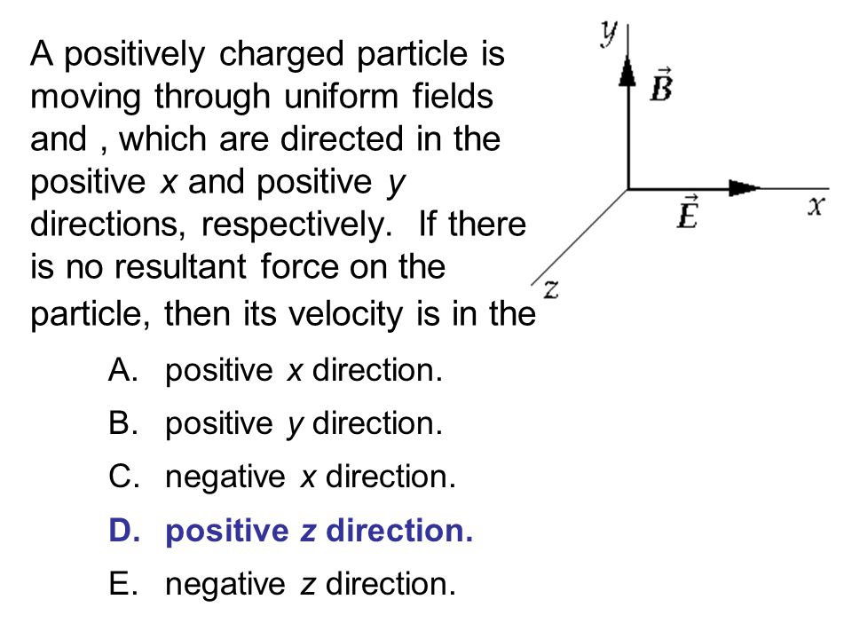 A positively charged particle is moving through uniform fields and , which are directed in the positive x and positive y directions, respectively. If there is no resultant force on the particle, then its velocity is in the