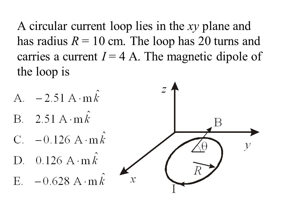 A circular current loop lies in the xy plane and has radius R = 10 cm