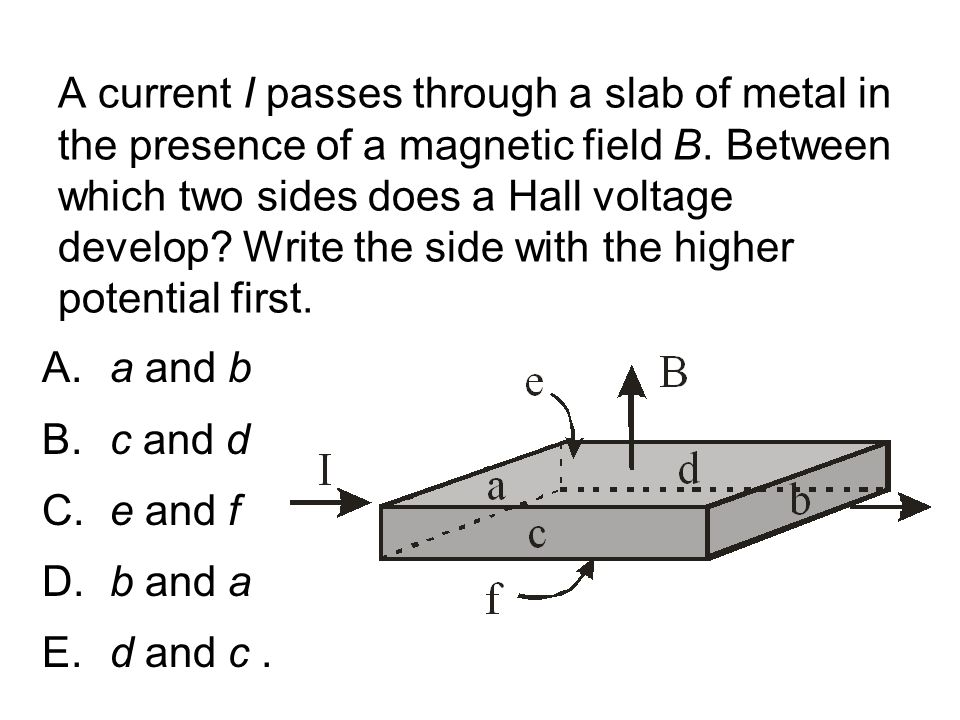 A current I passes through a slab of metal in the presence of a magnetic field B. Between which two sides does a Hall voltage develop Write the side with the higher potential first.