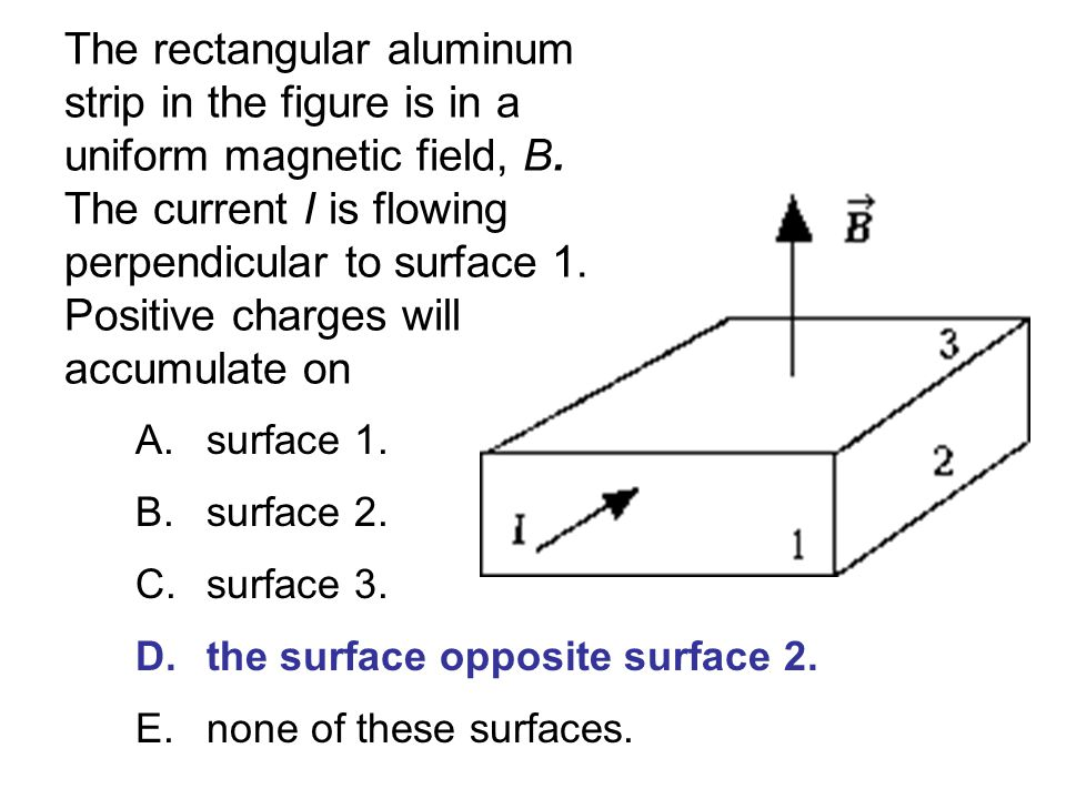 The rectangular aluminum strip in the figure is in a uniform magnetic field, B. The current I is flowing perpendicular to surface 1. Positive charges will accumulate on