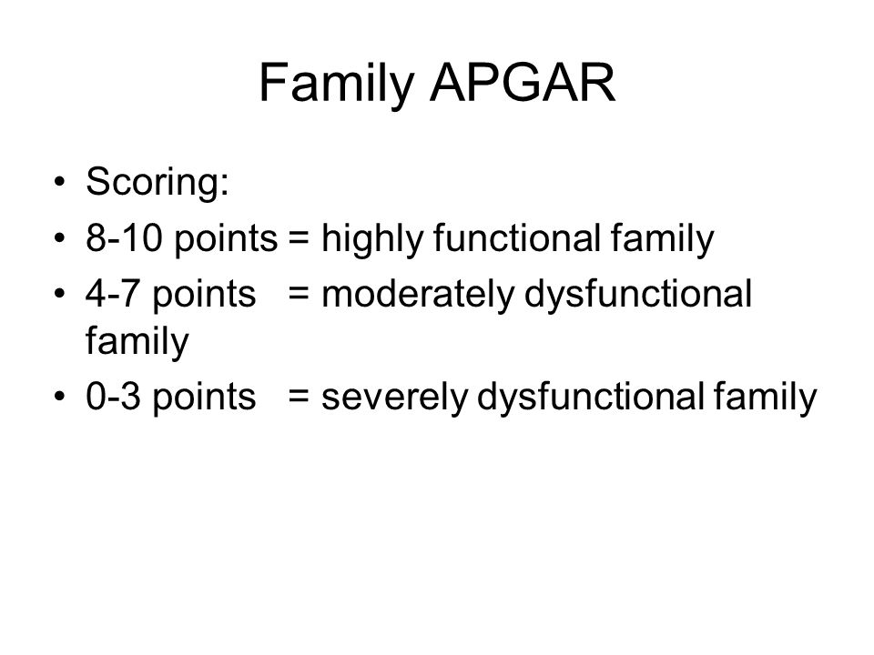 Family APGAR Scoring: 8-10 points = highly functional family