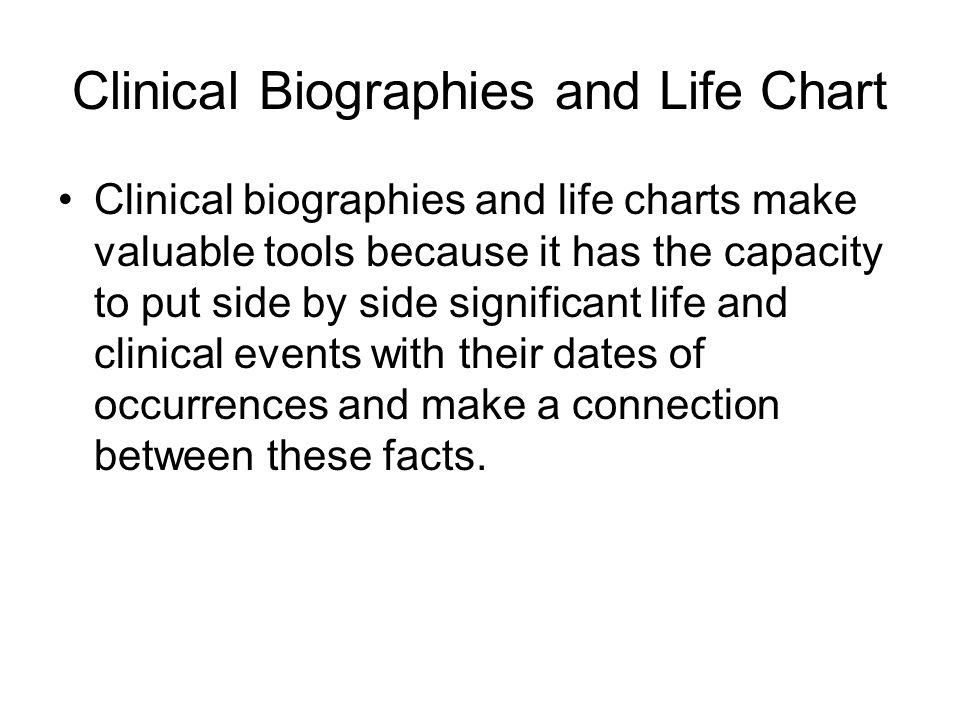 Clinical Biographies and Life Chart
