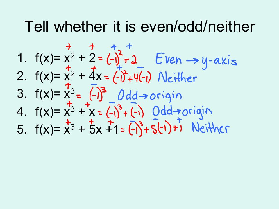 Tell whether it is even/odd/neither