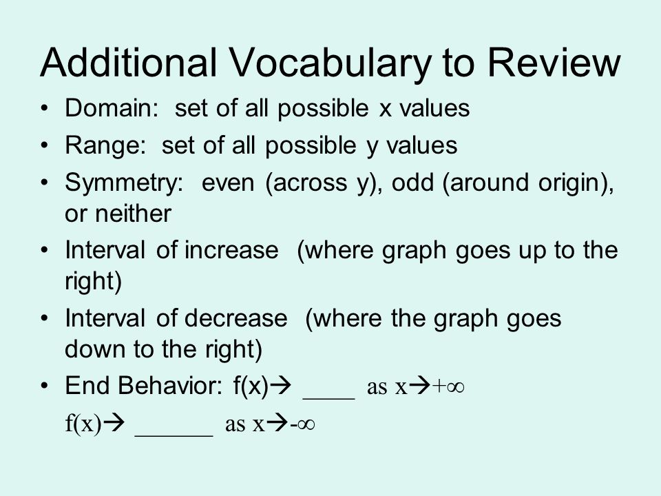 Additional Vocabulary to Review