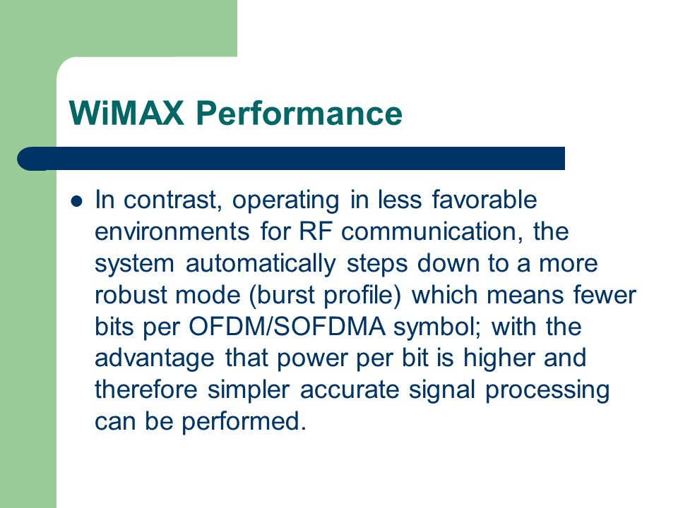 WiMAX Performance