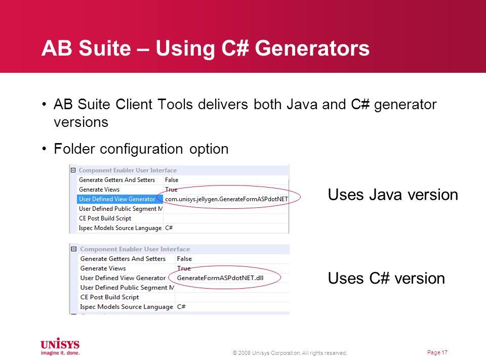 AB Suite – Using C# Generators