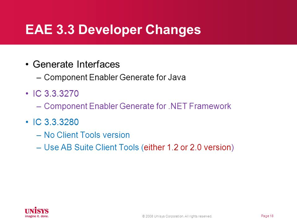 EAE 3.3 Developer Changes Generate Interfaces IC 3.3.3270 IC 3.3.3280
