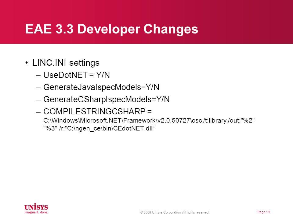 EAE 3.3 Developer Changes LINC.INI settings UseDotNET = Y/N