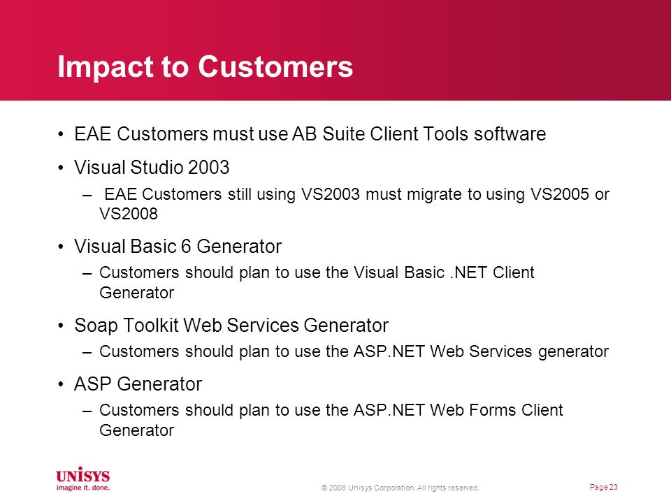 Impact to Customers EAE Customers must use AB Suite Client Tools software. Visual Studio 2003.