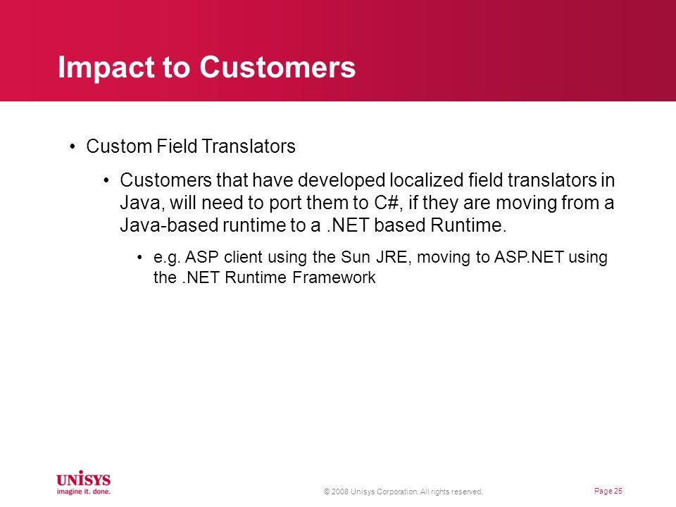 Impact to Customers Custom Field Translators