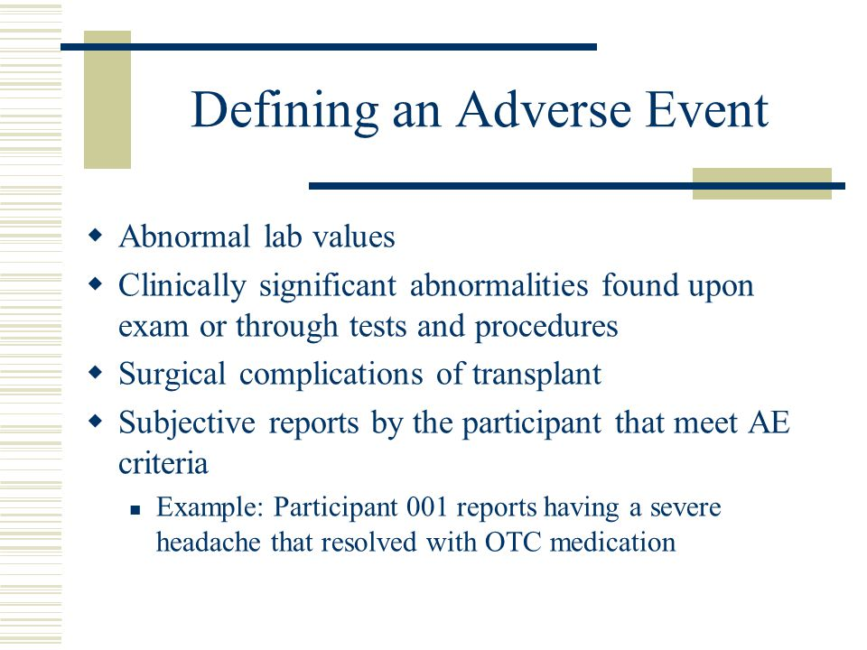 Defining an Adverse Event