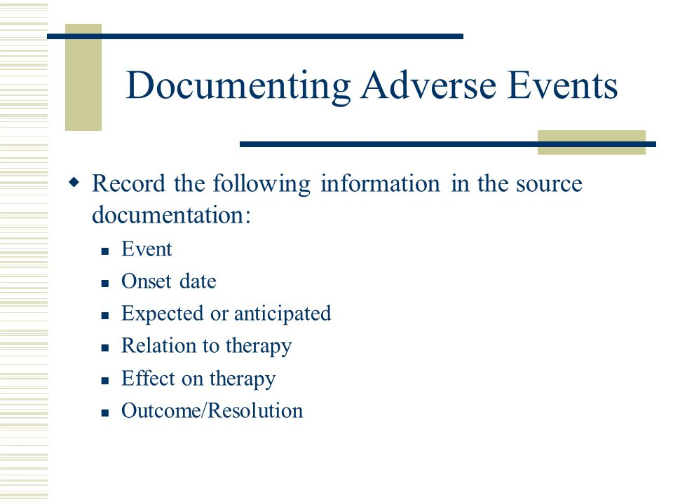 Documenting Adverse Events