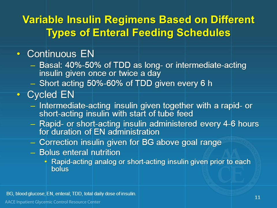 Variable Insulin Regimens Based on Different Types of Enteral Feeding Schedules