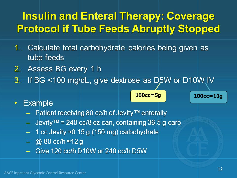 Insulin and Enteral Therapy: Coverage Protocol if Tube Feeds Abruptly Stopped