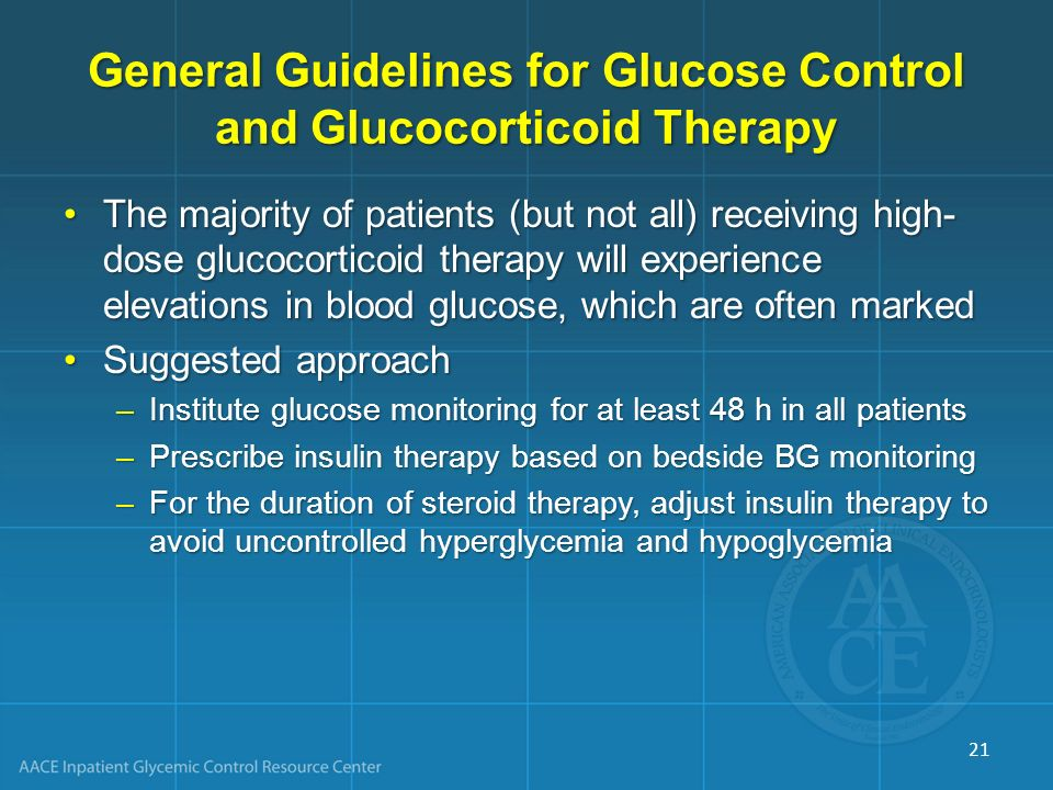 General Guidelines for Glucose Control and Glucocorticoid Therapy