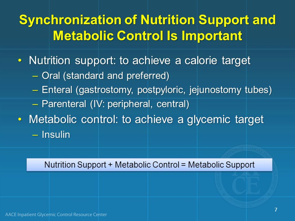 Nutrition Support + Metabolic Control = Metabolic Support