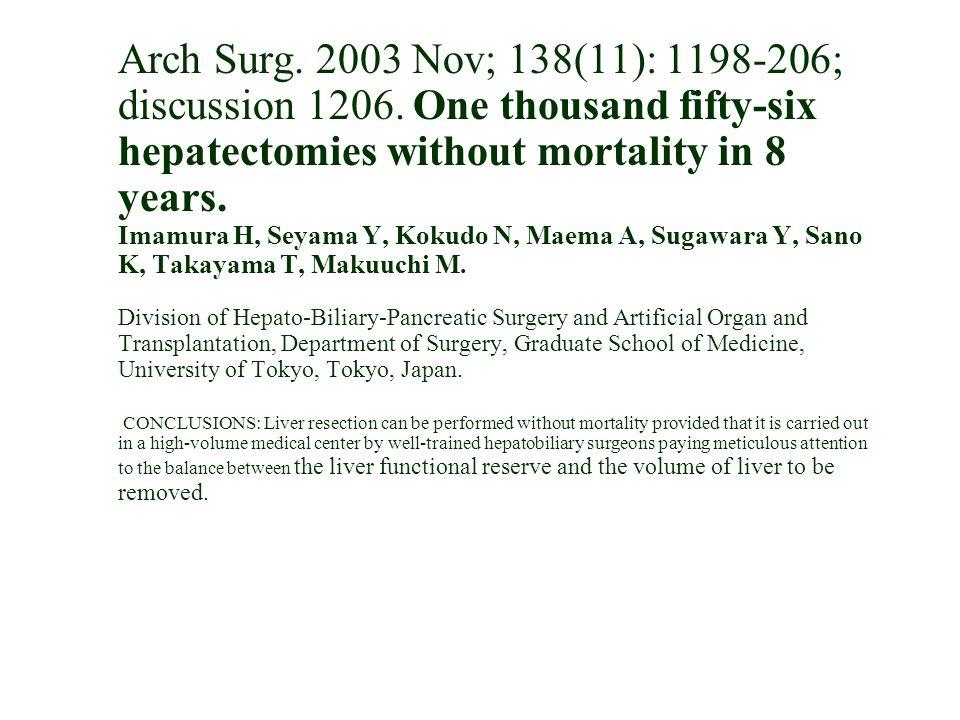 Arch Surg. 2003 Nov; 138(11): 1198-206; discussion 1206