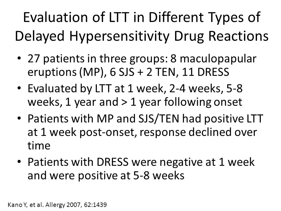 Evaluation of LTT in Different Types of Delayed Hypersensitivity Drug Reactions