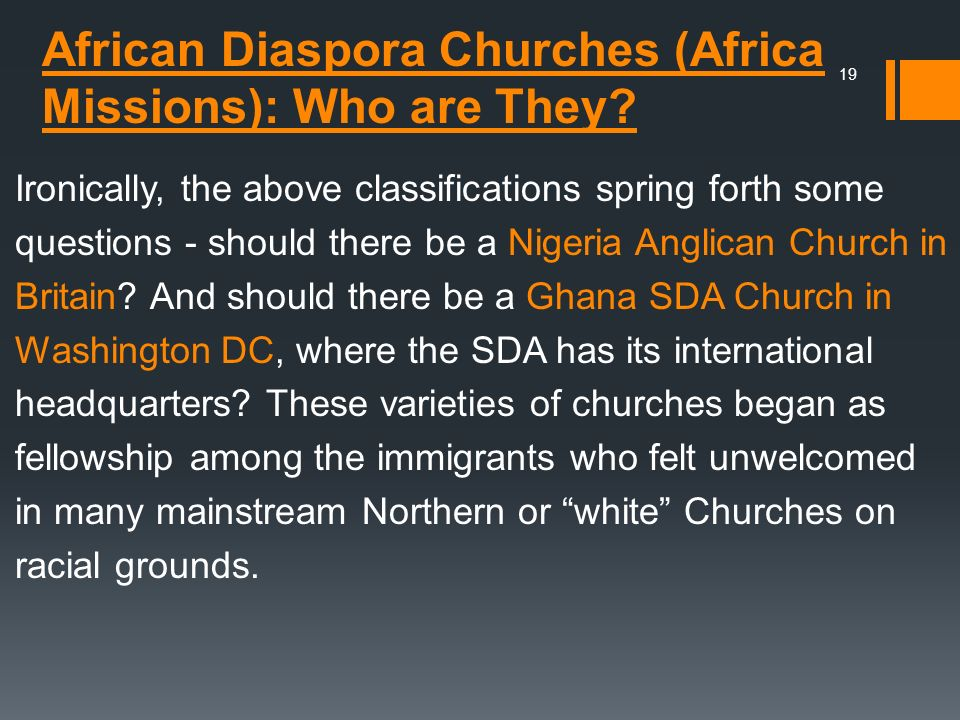 African Diaspora Churches (Africa Missions): Who are They