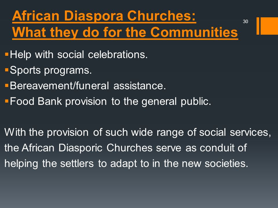 African Diaspora Churches: What they do for the Communities