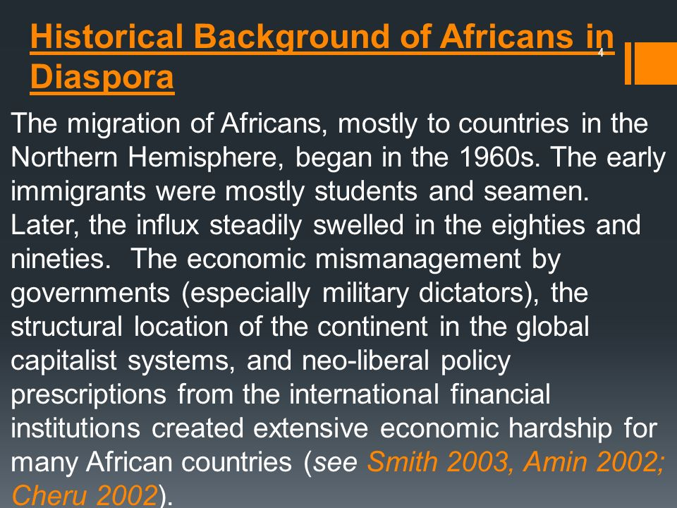 Historical Background of Africans in Diaspora