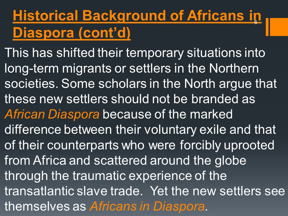 Historical Background of Africans in Diaspora (cont'd)