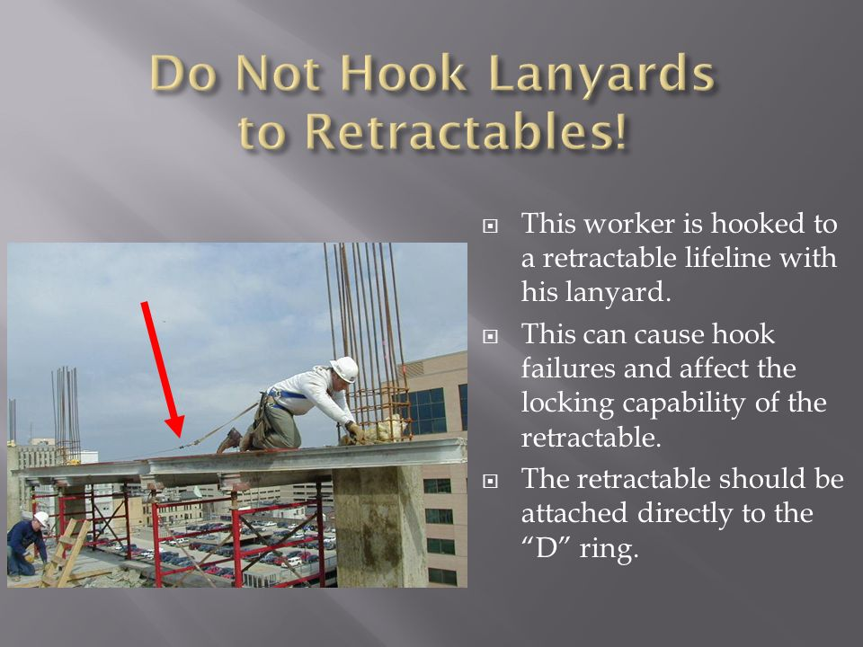Do Not Hook Lanyards to Retractables!